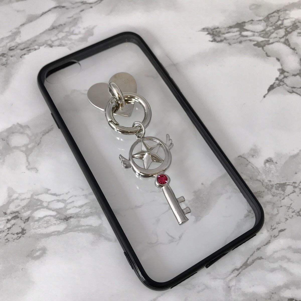 【送料無料】縁ブラッククリアケースに かわいいチャーム iPhoneケース