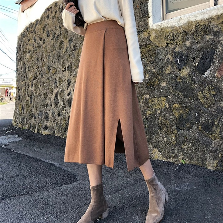 【ボトムス】スリットファッション無地スカート24446386