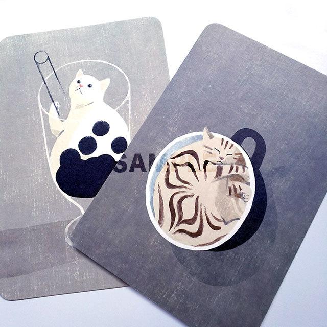 台湾ポストカード「珍珠奶茶猫とラテ猫」2枚組