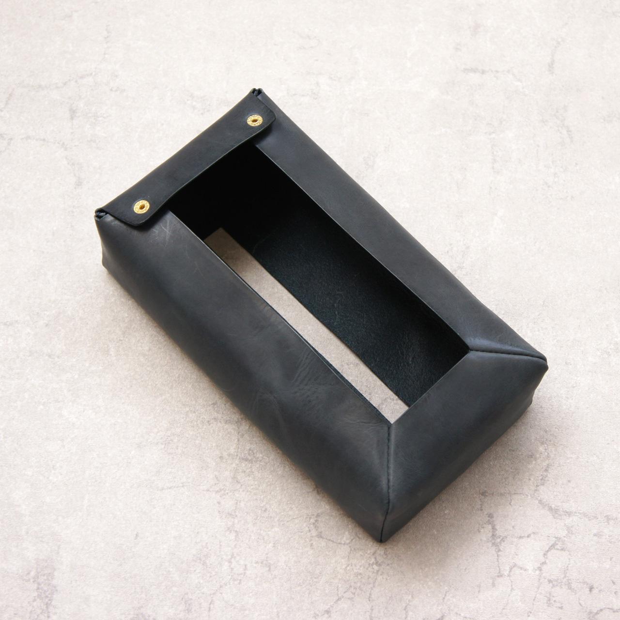 ふんわり柔らか革の箱ティッシュカバー【ネイビー】