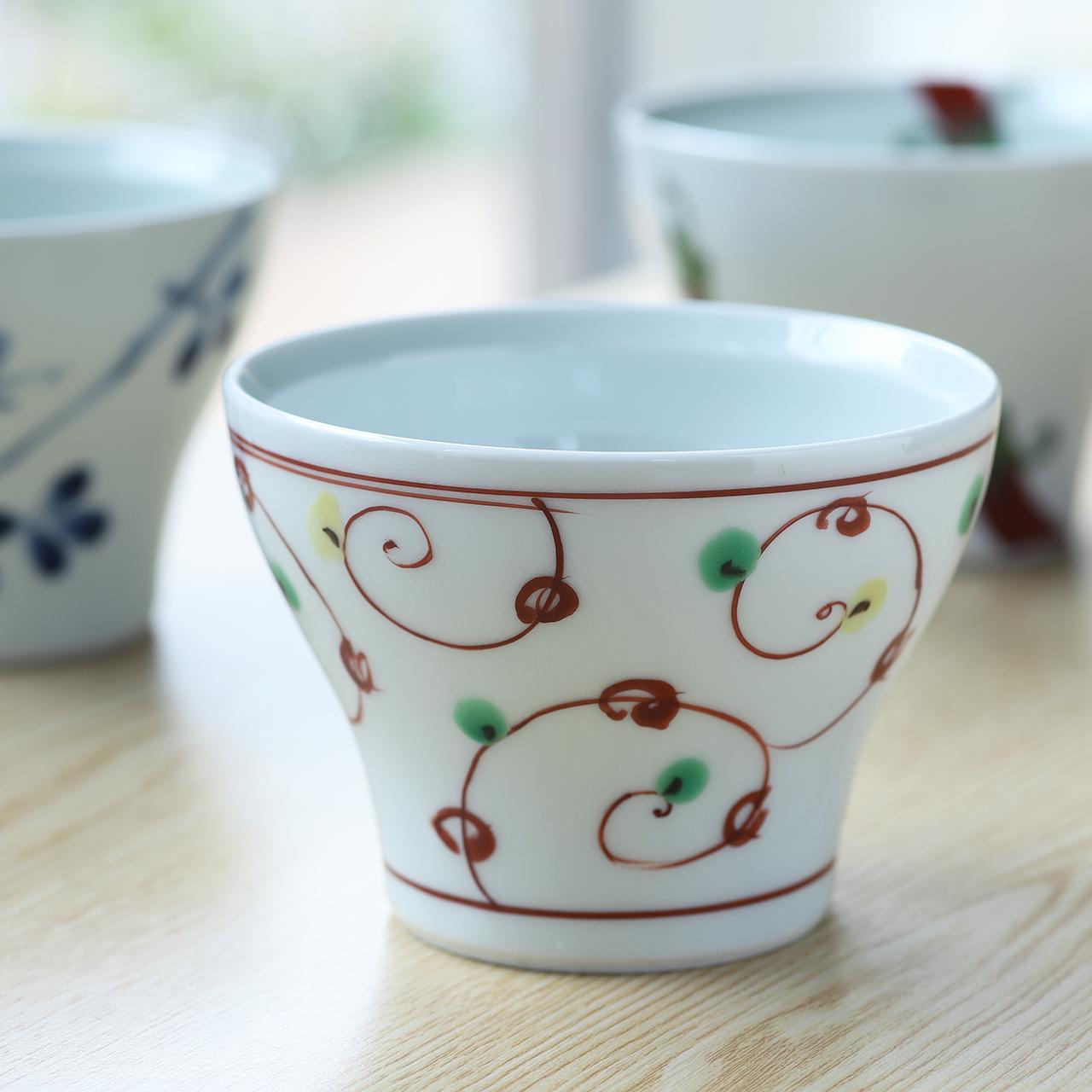 赤絵唐草 和カップ 作:陶房 青(波佐見焼)