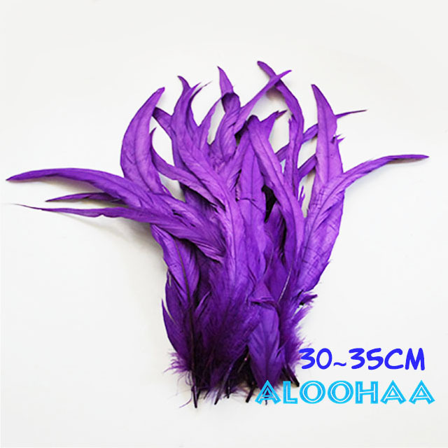 単色ロングフェザー 【パープル】30~35cm タヒチアン 衣装 材料 ルースターテール 染め 羽根