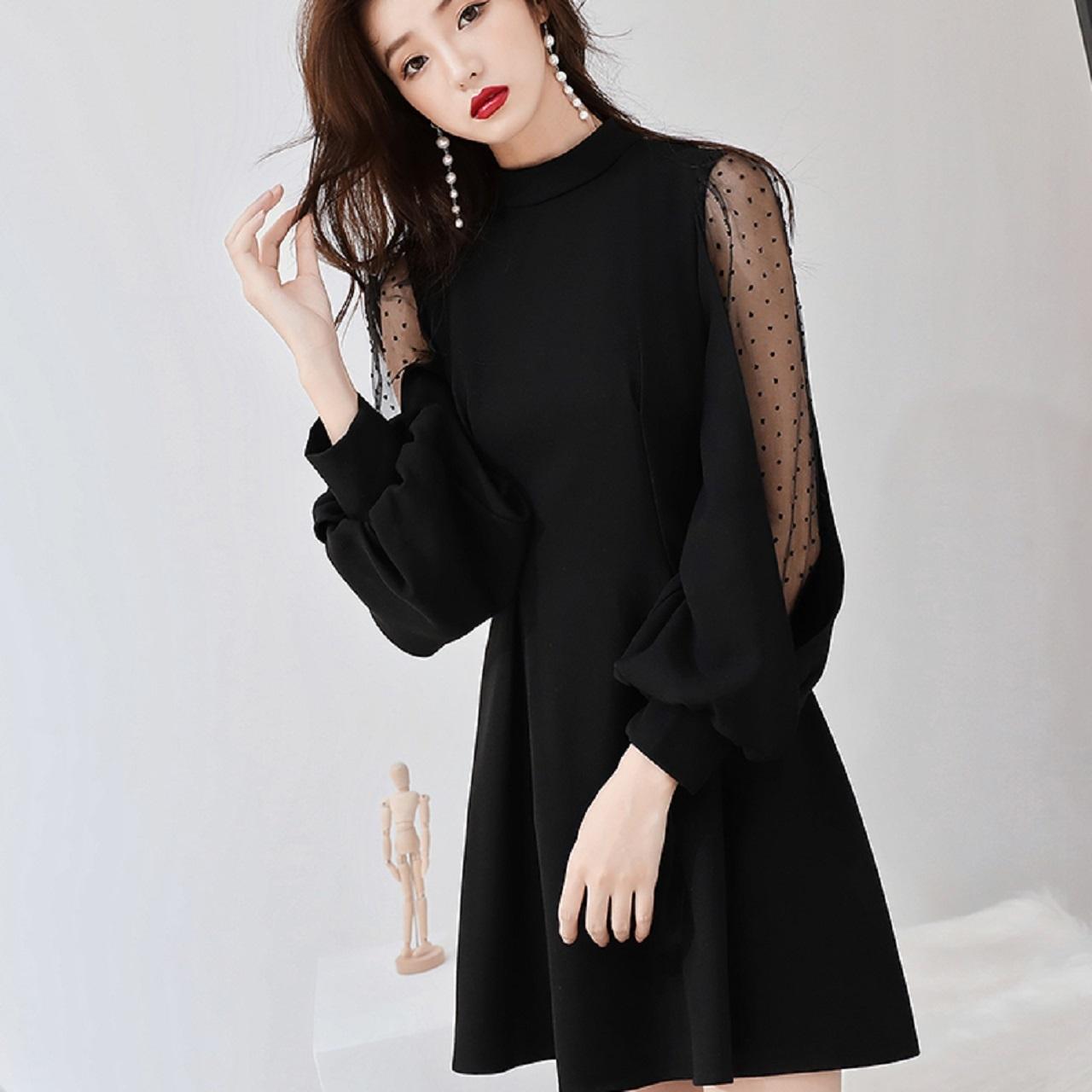 87f9d4df091e8 パーティドレス ドレス ワンピース 黒ドレス 黒ワンピース長袖 フリル ミニ丈 シースルー ドット お呼ばれ 結婚