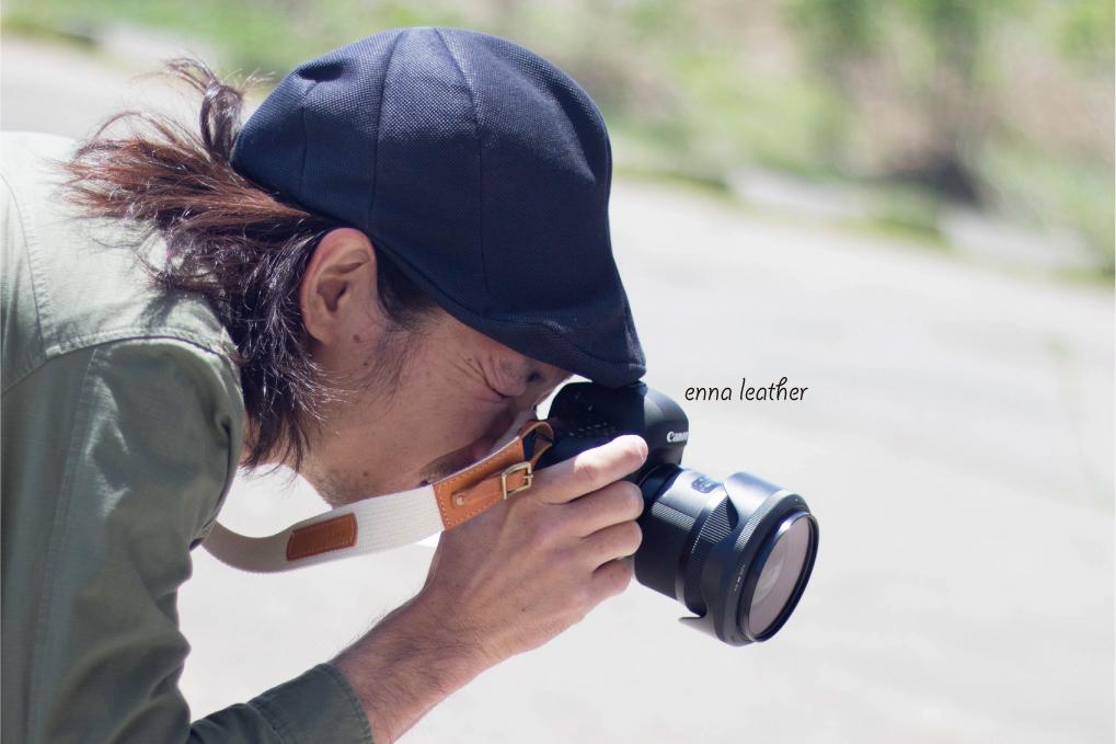 《3cm幅》生成コットンレザーのカメラストラップ