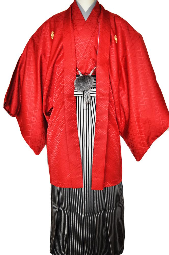 レンタル男性用【紋付袴】赤色着物羽織と黒銀ぼかしの袴フルセットred1[往復送料無料] - 画像2
