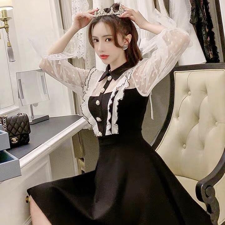 v line frill monotone dress