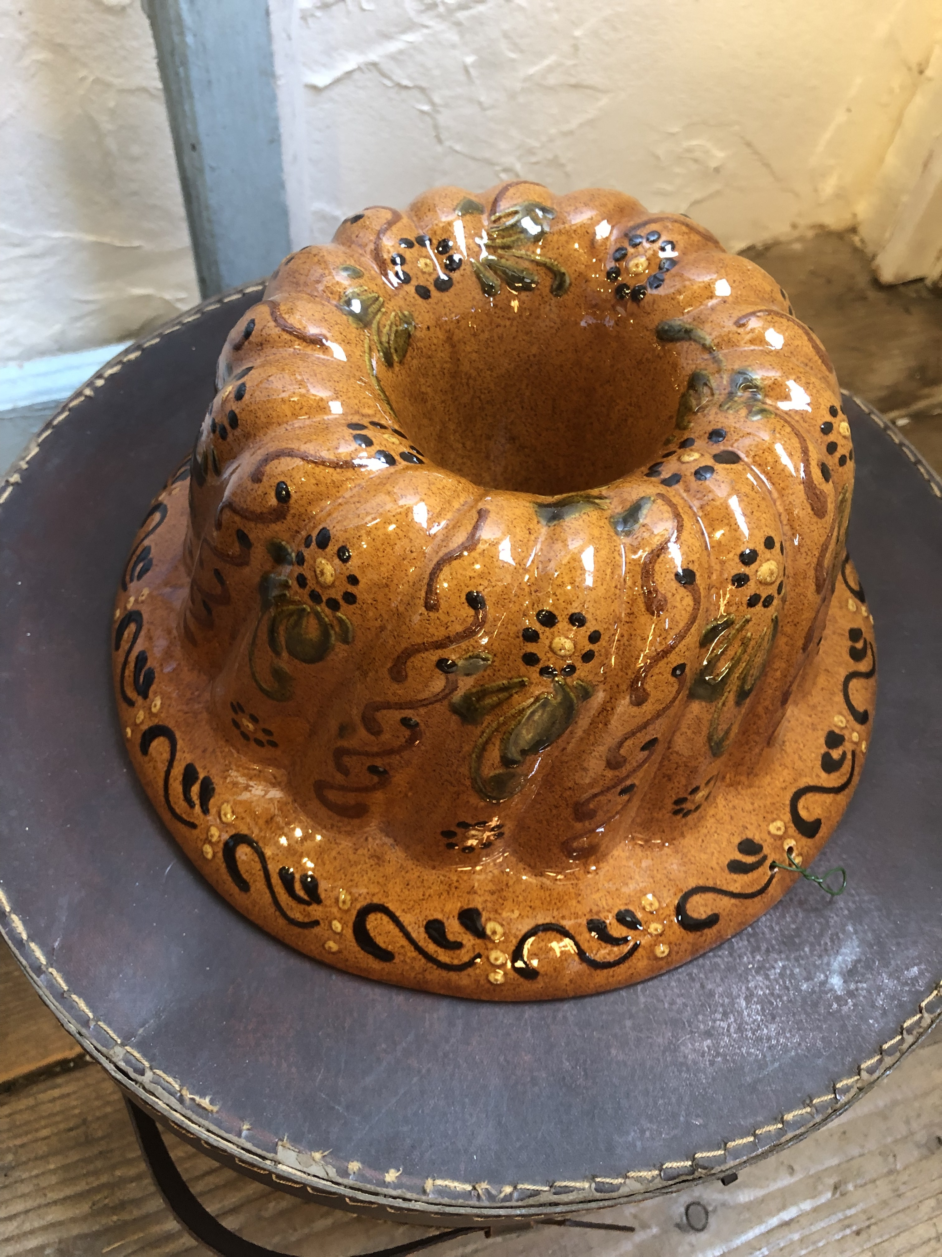 フランスアルザス地方陶器のクグロフ型ブラウンLLサイズ