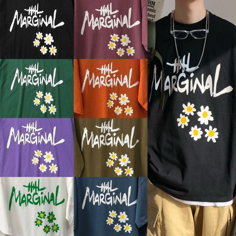 ユニセックス Tシャツ 半袖 メンズ レディース 英字 花 フラワープリント オーバーサイズ 大きいサイズ ルーズ ストリート
