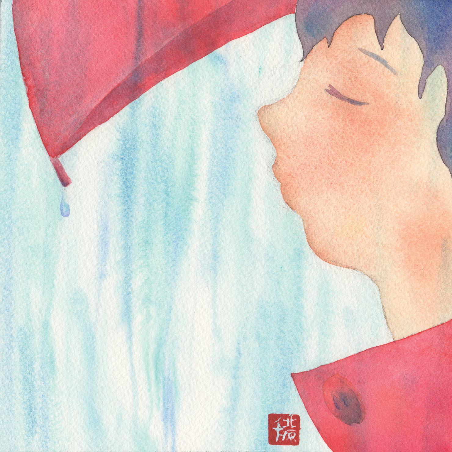 絵画 インテリア アートパネル 雑貨 壁掛け 置物 おしゃれ イラスト 創作絵画 雨 ロココロ 画家 : 北原 千 作品 : 雨の匂い