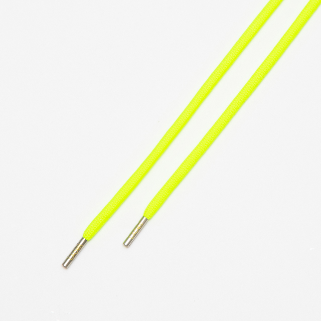 "ROPE LACES SOLID/METAL TIP ""NEON YELLOW/METAL SILVER"""