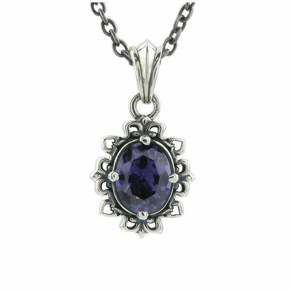 ゴシックストーンペンダント シルバーネックレス AKP0107 Gothic stone pendant silver necklace