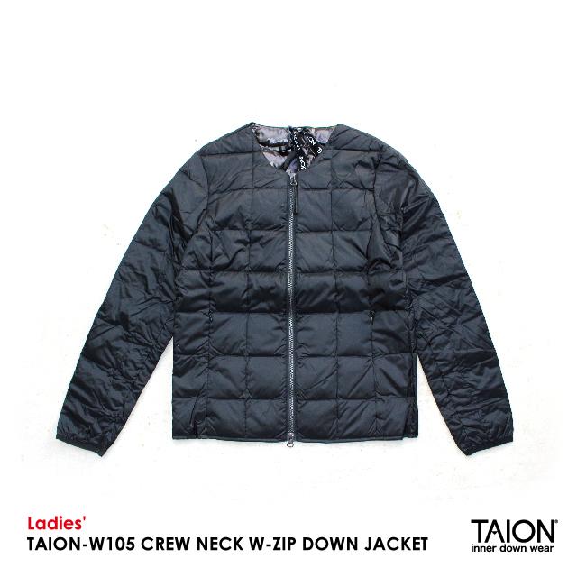 Ladies' / TAION-W105 CREW NECK W-ZIP DOWN JACKET / BLACK