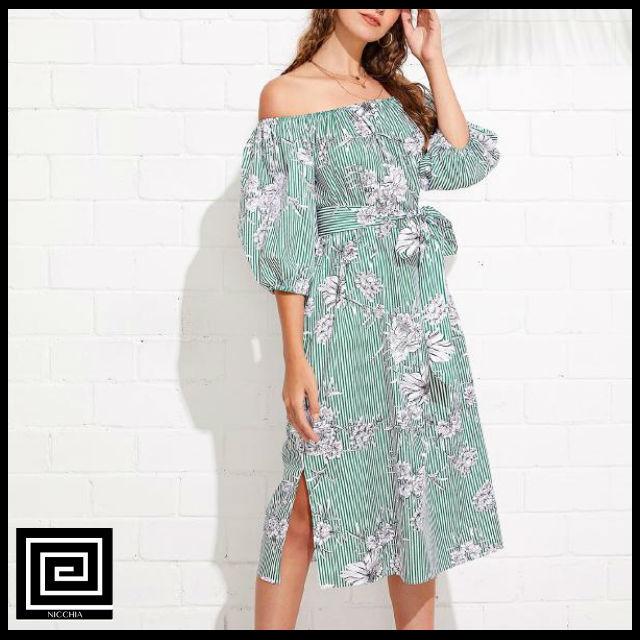 セルフタイフラワーストライプドレス