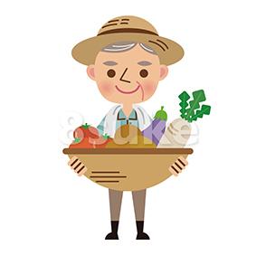 イラスト素材:収穫した野菜を持つ年配の農夫(ベクター・JPG)