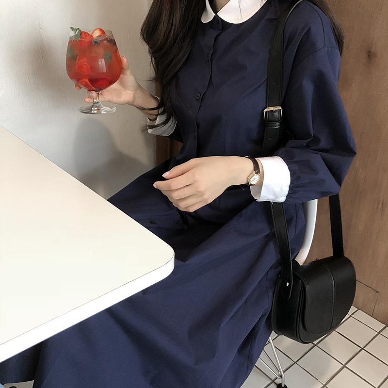 【送料無料】 上品ワンピ♡ 襟付き バイカラー ロング シャツワンピース バックリボン 秋コーデ