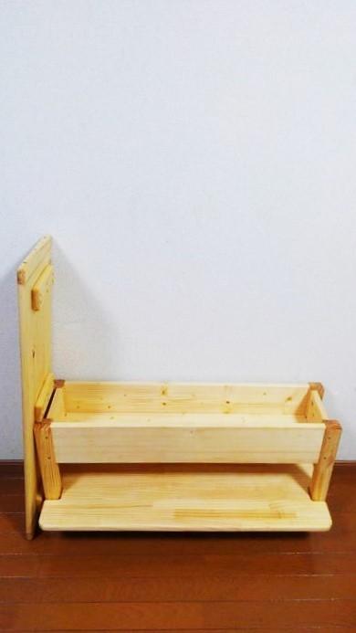 キッズチェア 収納付きベンチ 足置き・棚付き