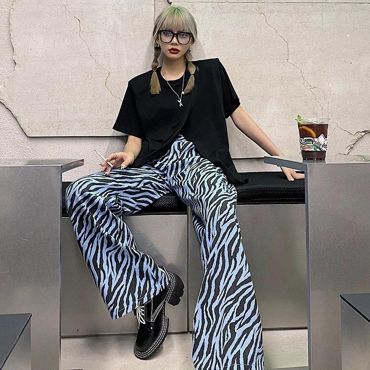 zebra pattern wide pants