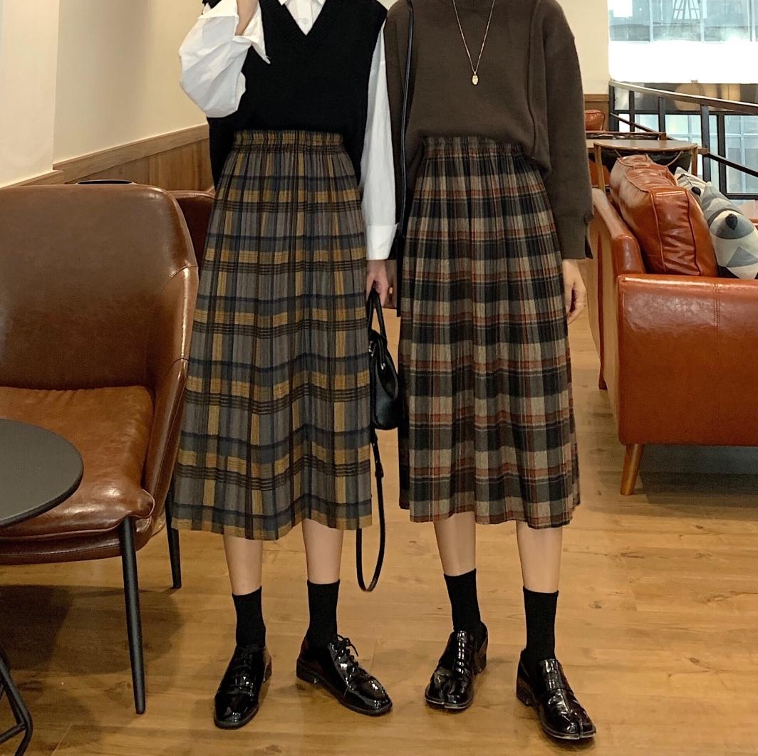 〈カフェシリーズ〉プリーツチェックスカート 【pleats check skirt】