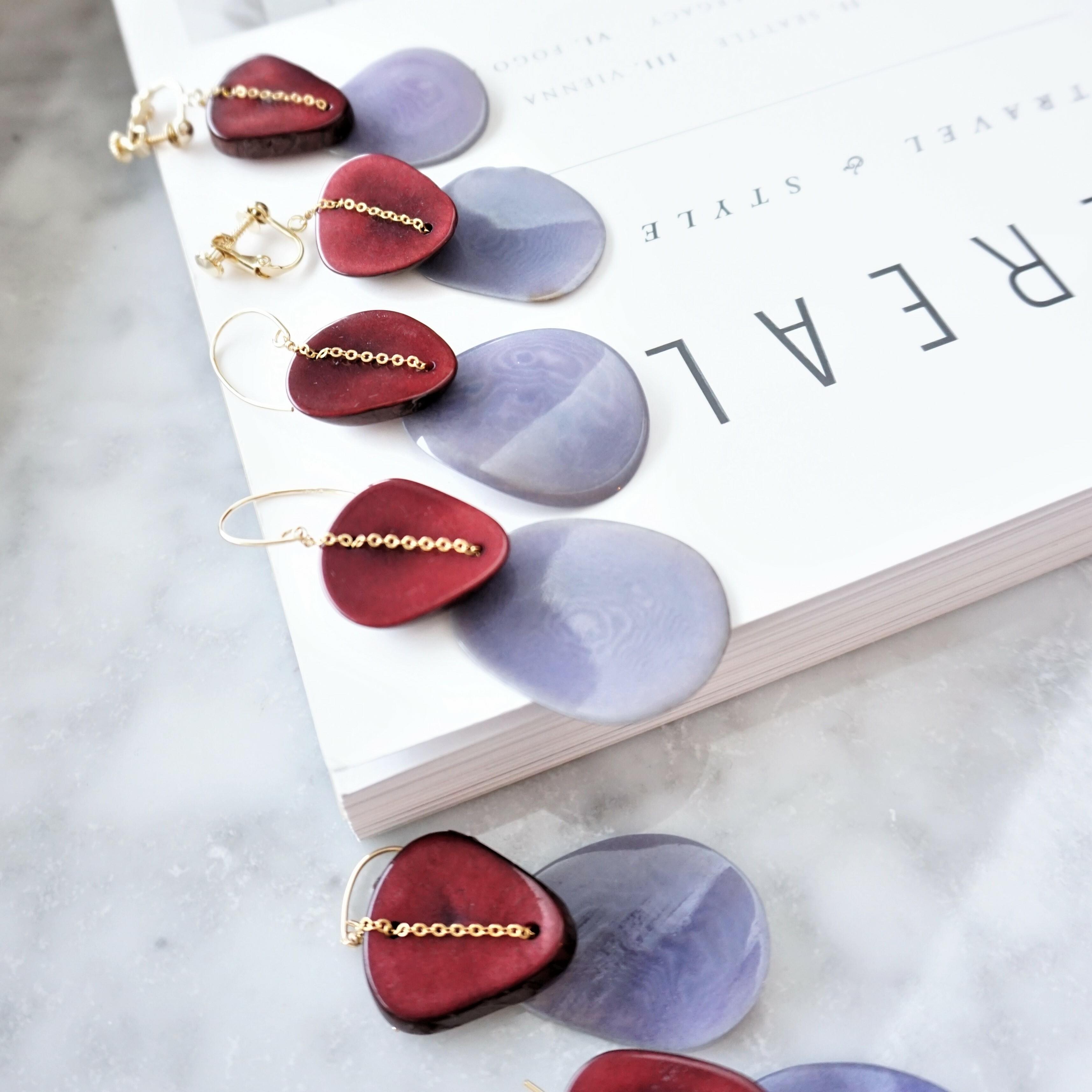送料無料14kgf*Bordeaux PUR Tagua Nuts pierced earring/earring