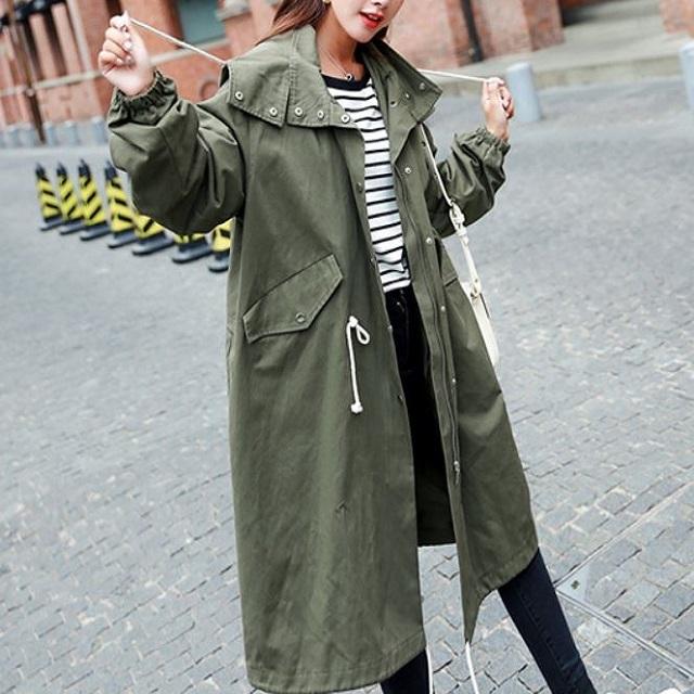 売れ筋☆おすすめ☆ ミニタリ―コート カジュアル メンズ風 フード付き ゆったり ロング丈 ひも付き カッコいい