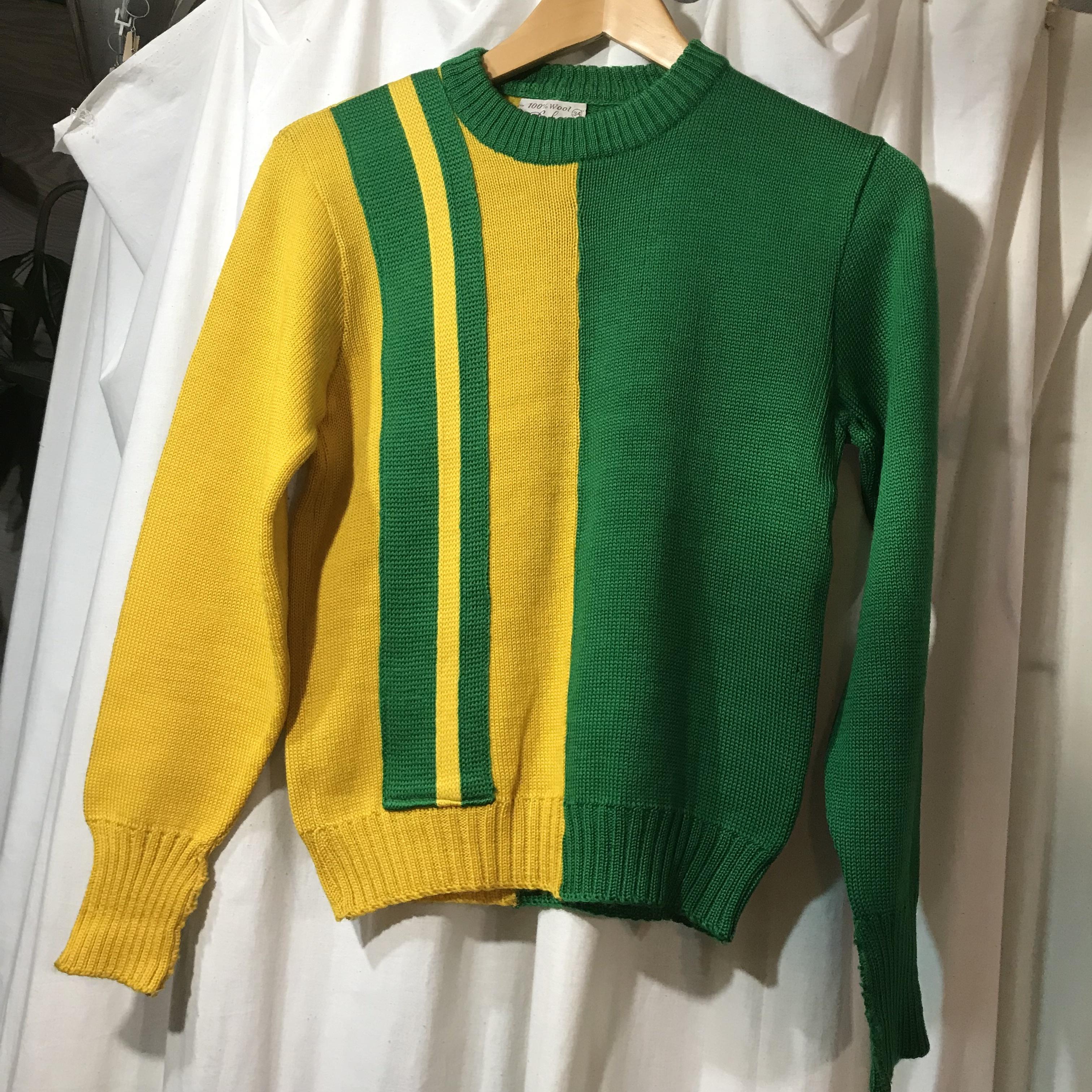 100%ウール 切り替えデザインセーター メンズXS~S