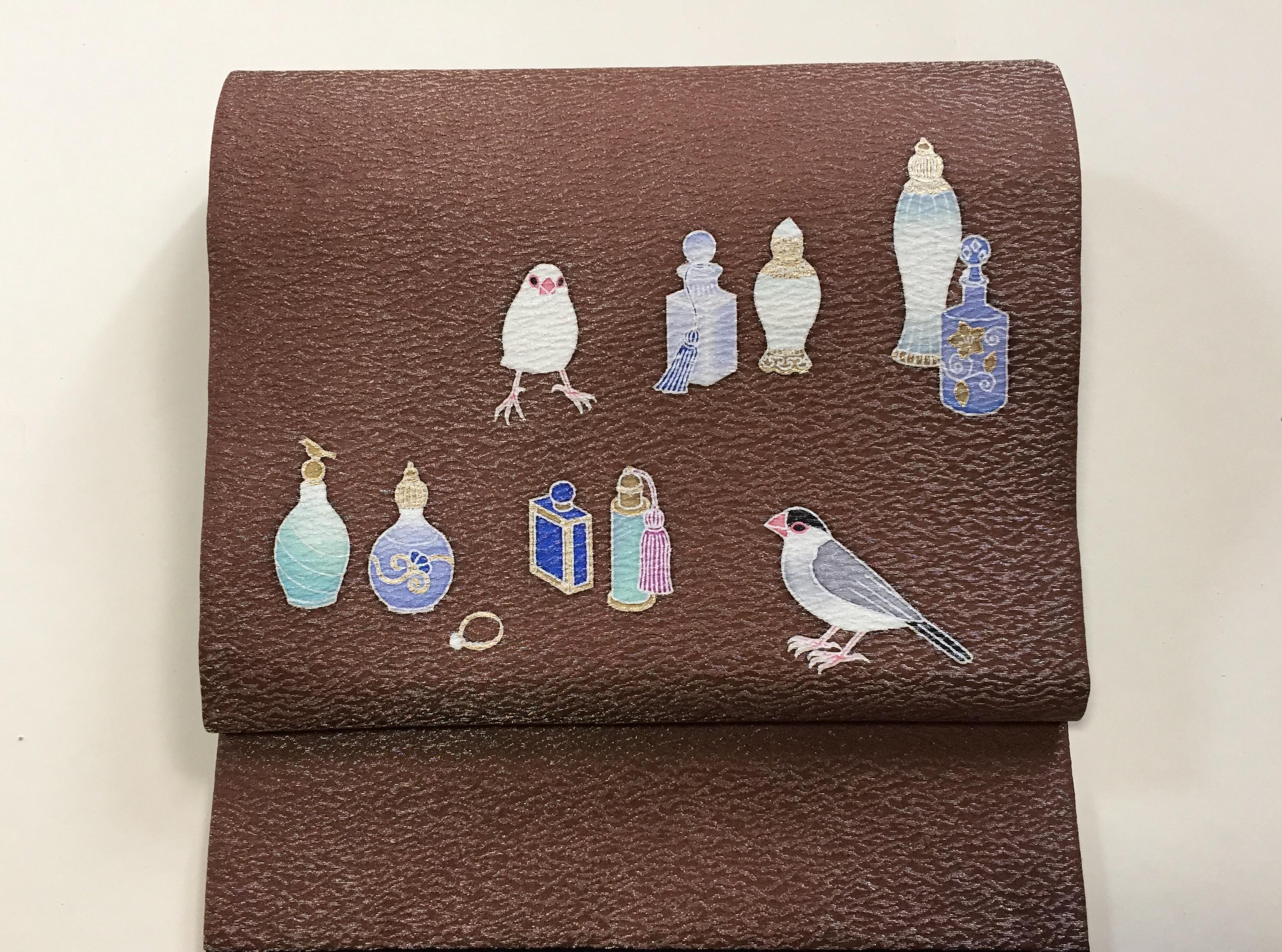 昼夜帯   文鳥と香水瓶(ユキヤ)×ポインセチア(町田久美子) 【即納品】