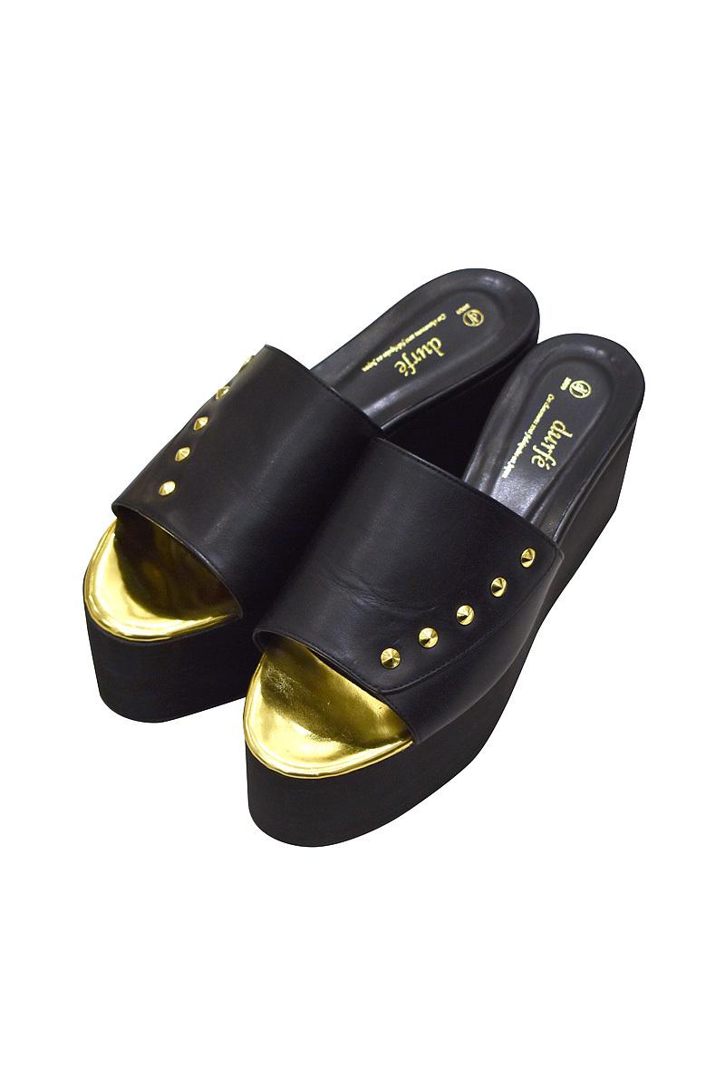 durfe / ENAMEL DESIGN SOLE SHOES / Gold