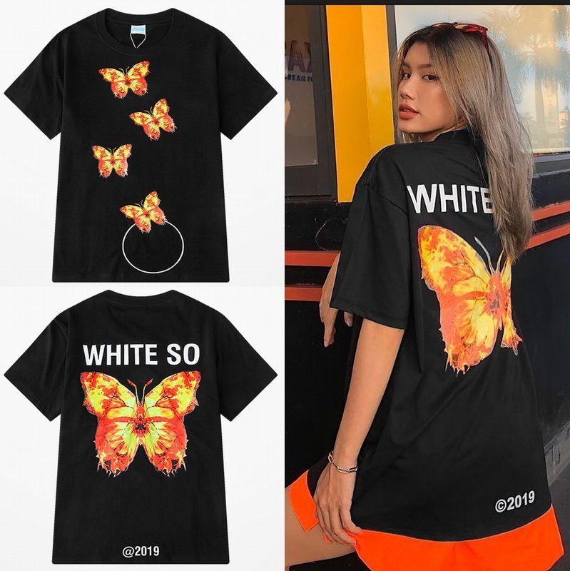 ユニセックス 半袖 Tシャツ メンズ レディース バタフライ 蝶 プリント オーバーサイズ 大きいサイズ ルーズ ストリート