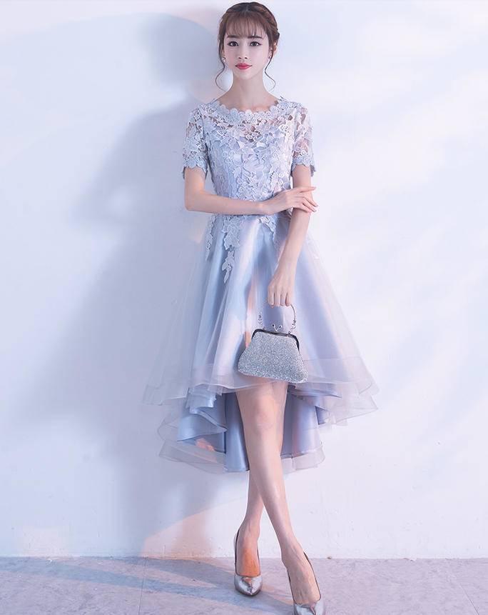 48f65e23cf864 パーティードレス ミモレ丈 結婚式 お呼ばれ ワンピース 二次会 袖あり 透け感 レース 大きいサイズ フォーマル イブニングドレス 韓国 オルチャン