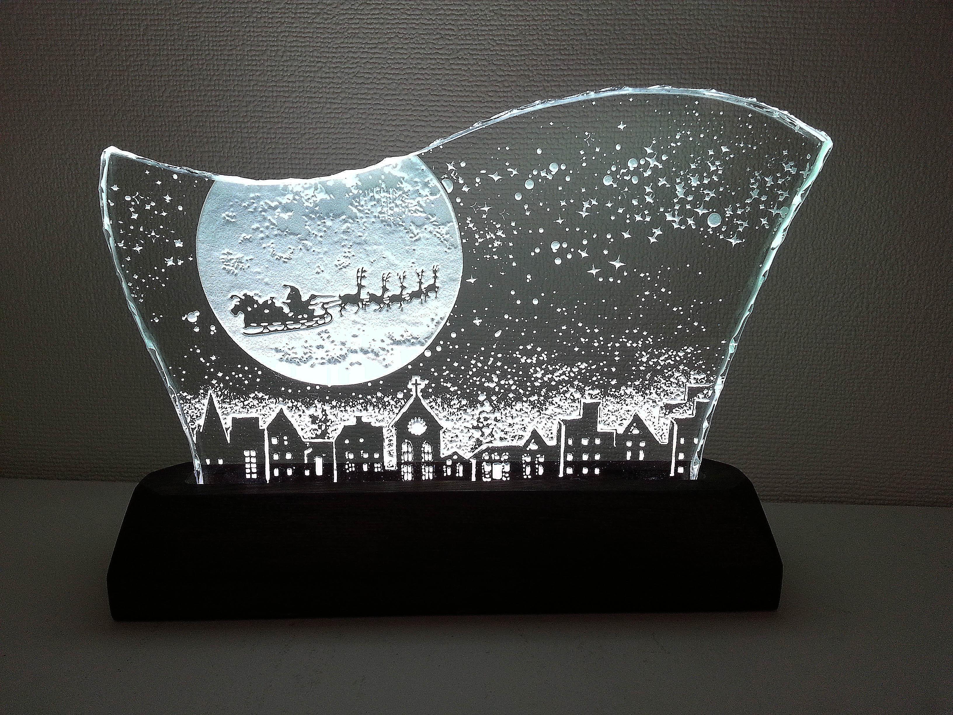 クリスマスのガラスエッチングパネル Lサイズ・LEDスタンドセット