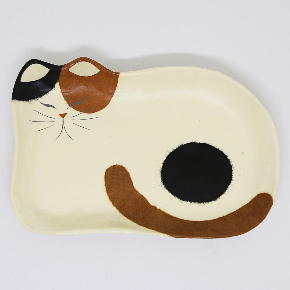猫トレイ(和紙クラフトひだまりのらペーパーキャット大)三毛ねこ