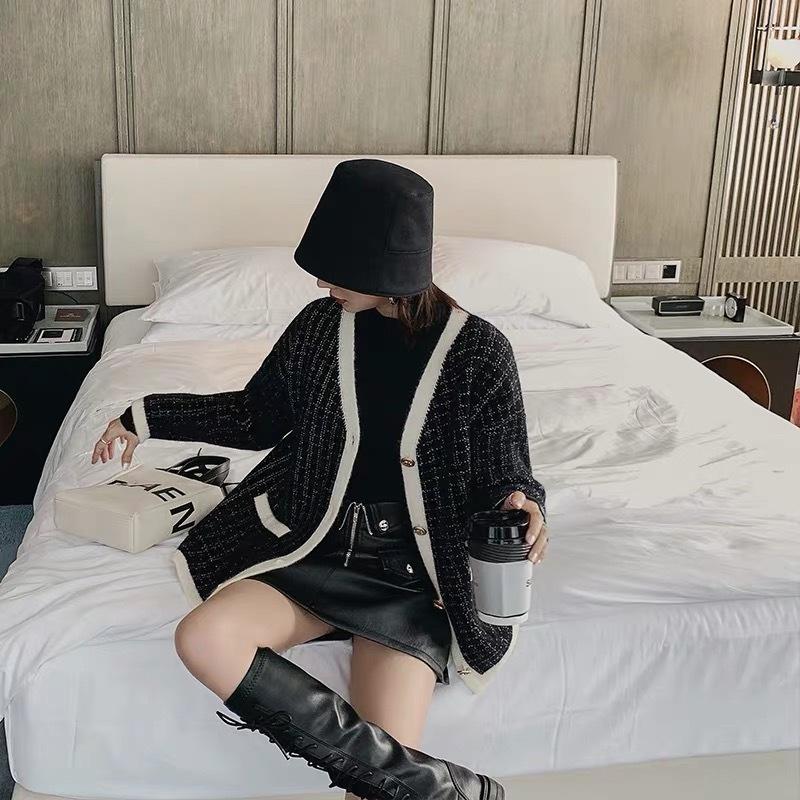 tweed over cardigan