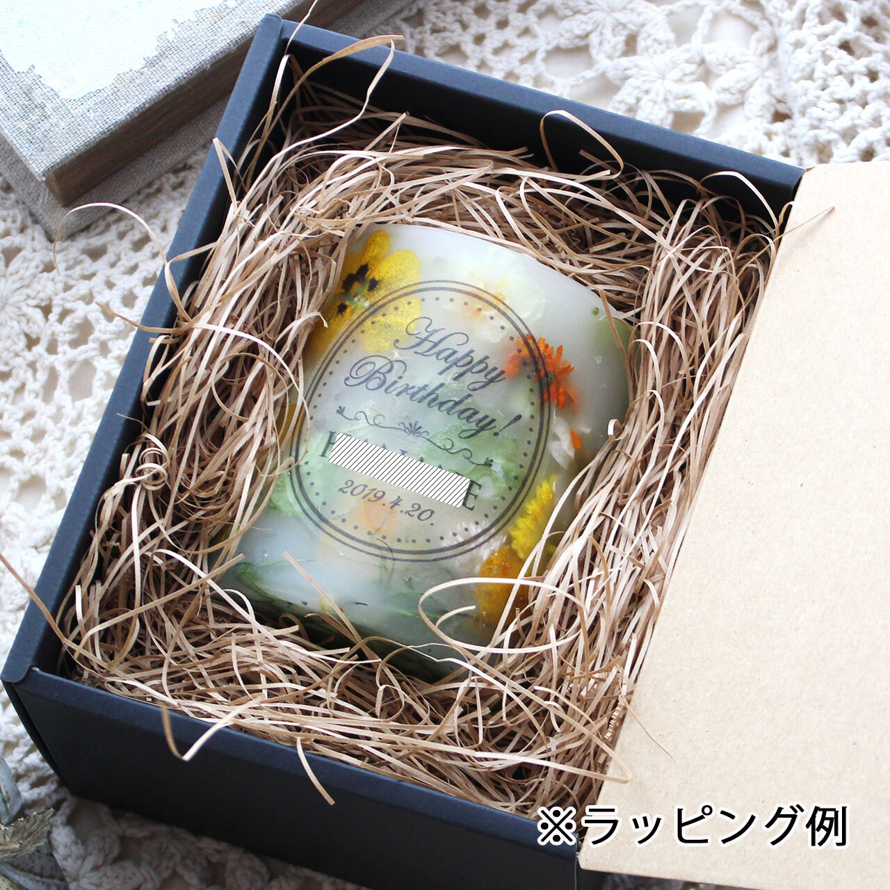 NC238 ギフトラッピング付き☆メッセージ&日付&名入れボタニカルキャンドル プリザーブドローズ