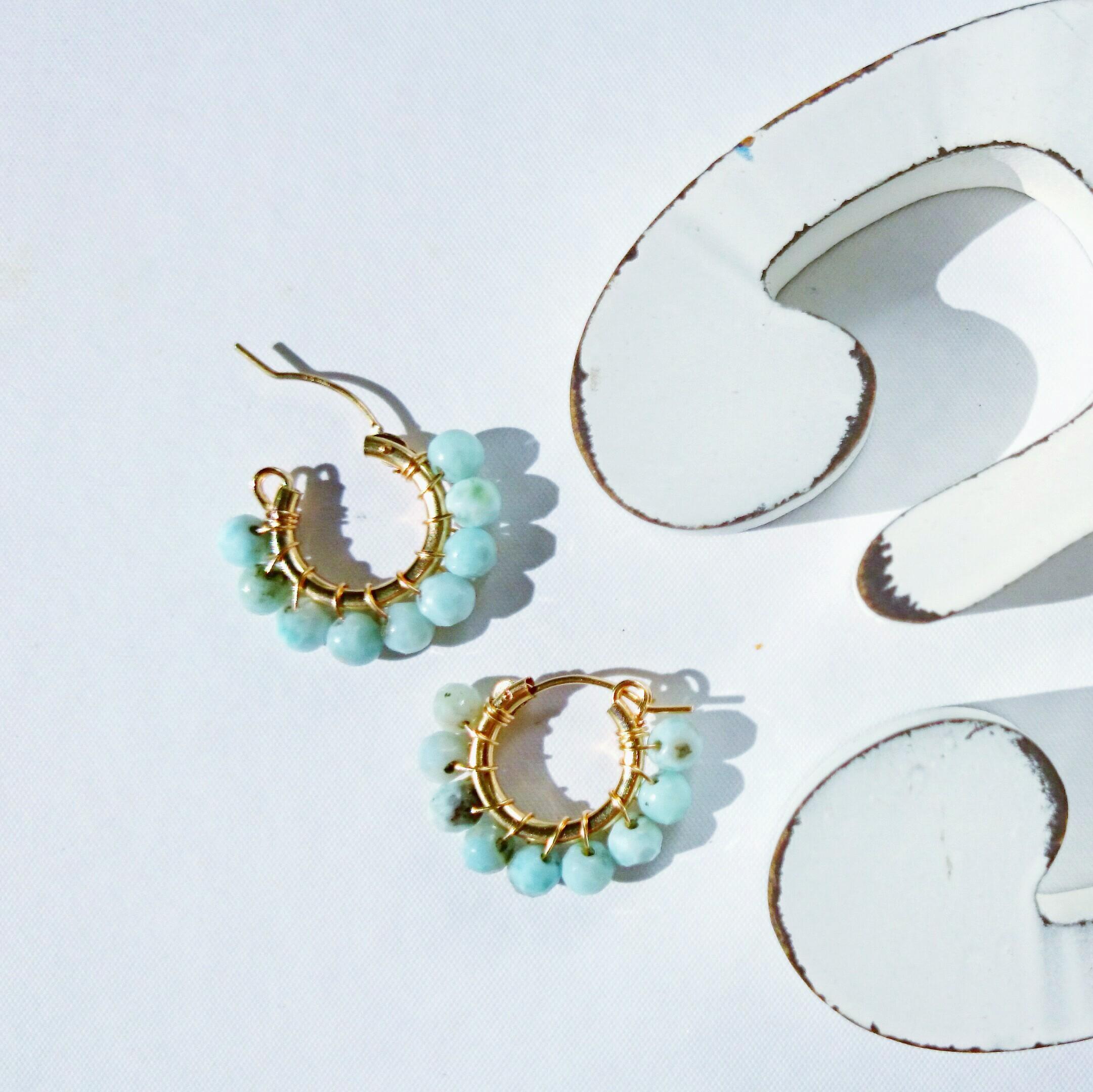 送料無料 14kgf♡AA+larimar wrapped hoop pierce/earring15mm