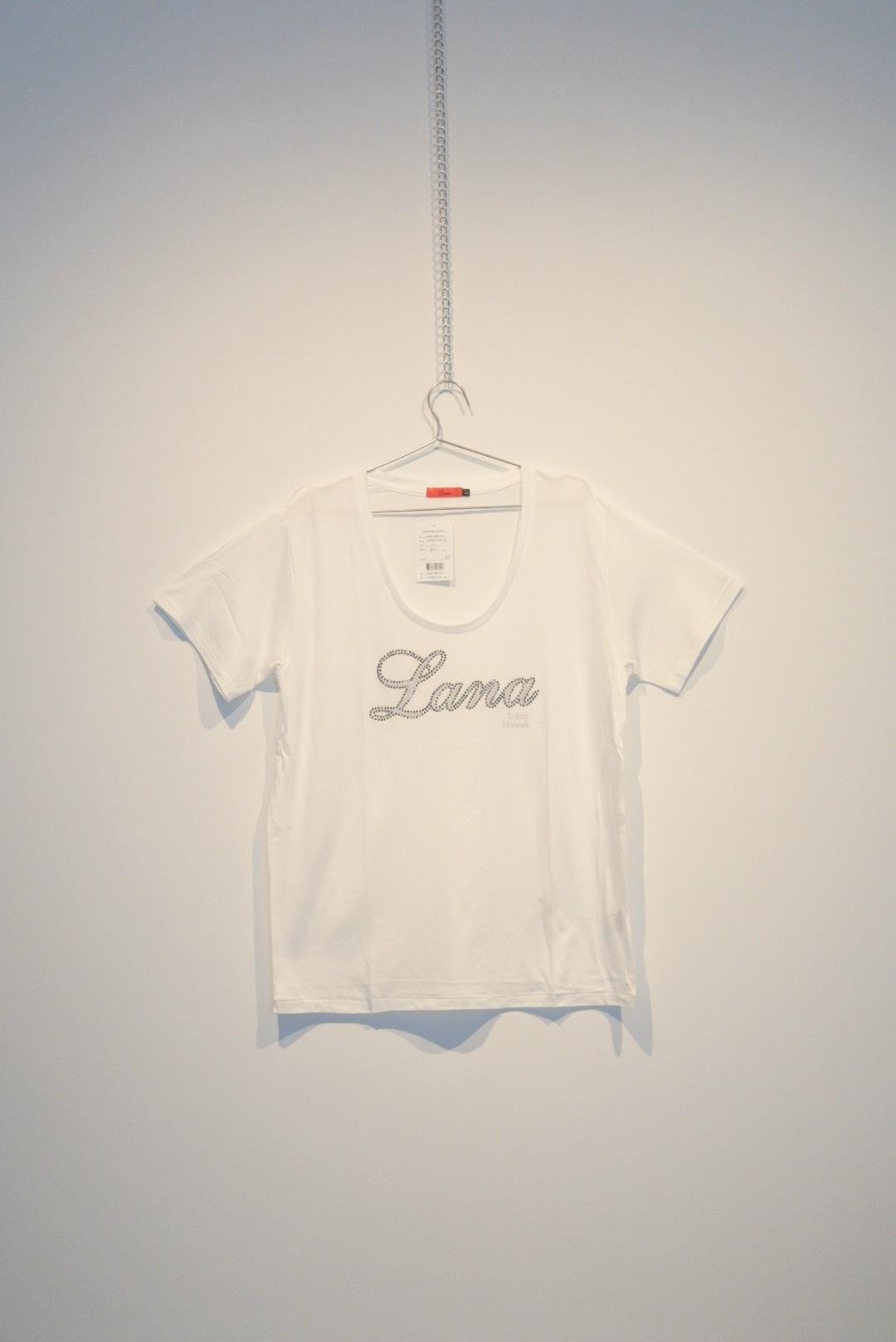 Lana(CRYSTAL BALL) ラインストーンLana UネックTシャツ白 jwtvt0037