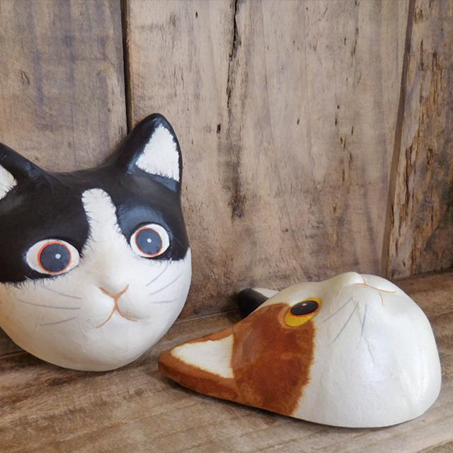 (152) ひだまりのら 手漉き和紙 猫 ネコ ミニ お面 黒白猫 マスク 壁掛け 飾り