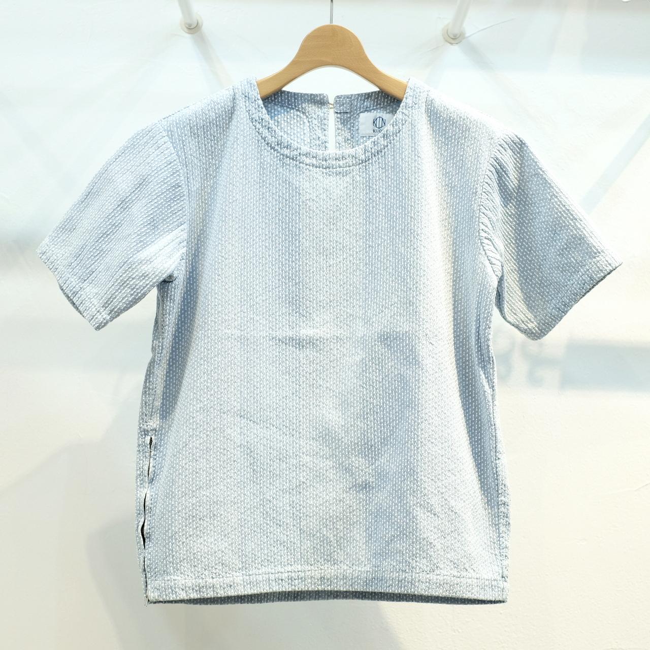 KUON(クオン) 遠州カツオ縞刺し子ブリーチ 半袖プルオーバーシャツ(カットソー)