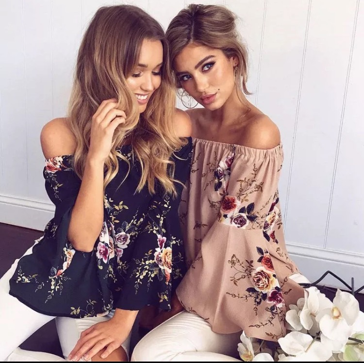 Flower offshoulder tops
