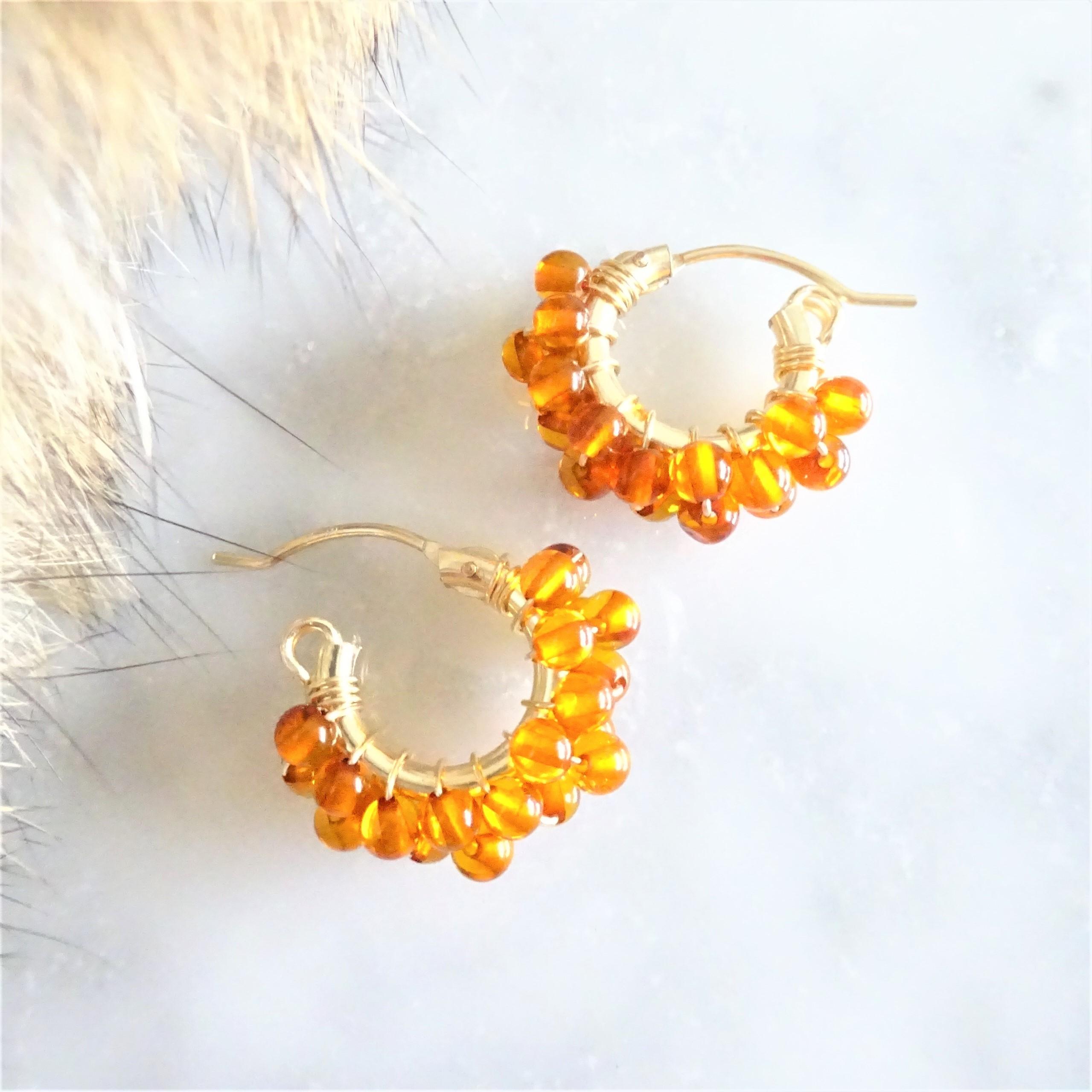 送料無料14kgf*天然琥珀Baltic Amber pavé earring / pierced earring