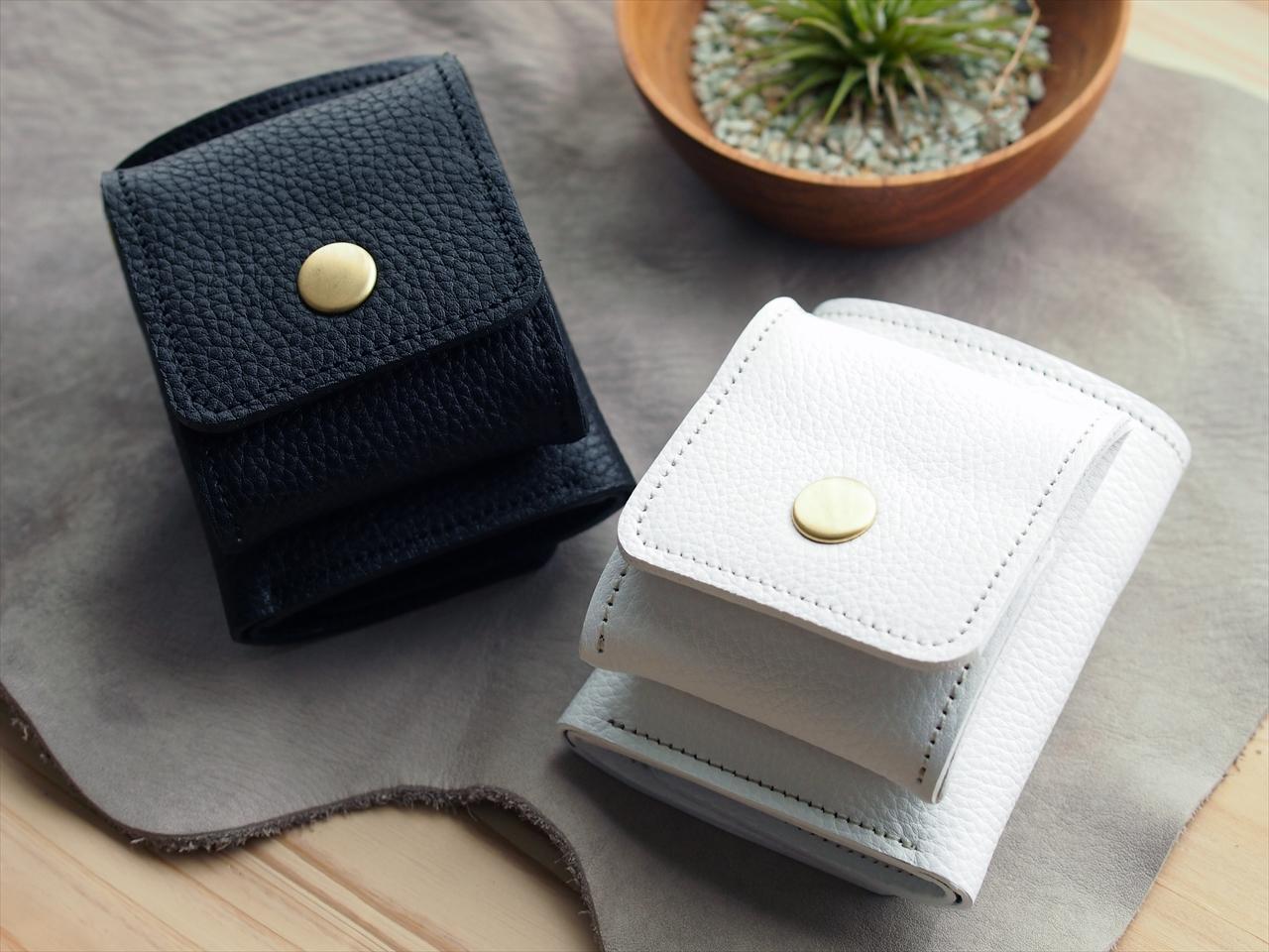 シュリンクレザー コンパクト財布【ホワイト or ブラック】white black 小型ウォレット