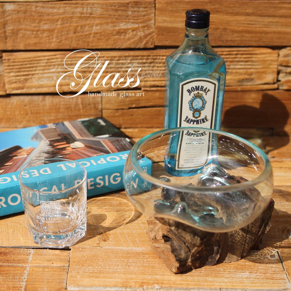 ■当日出荷■吹きガラスと木のオブジェ 浅型S g07 アソート