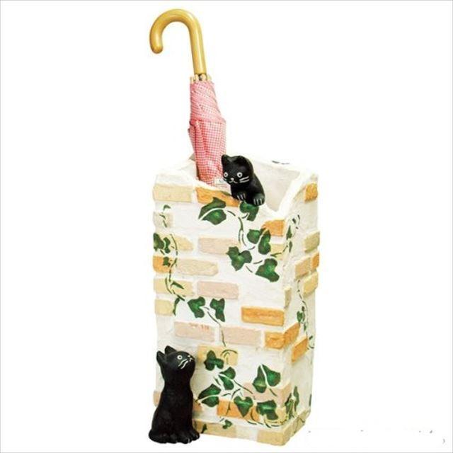 ガーデン雑貨 レジン製 黒猫 ラ・カンパーニュ 傘立て SCZ-0402-1000 セトクラフト - 画像1