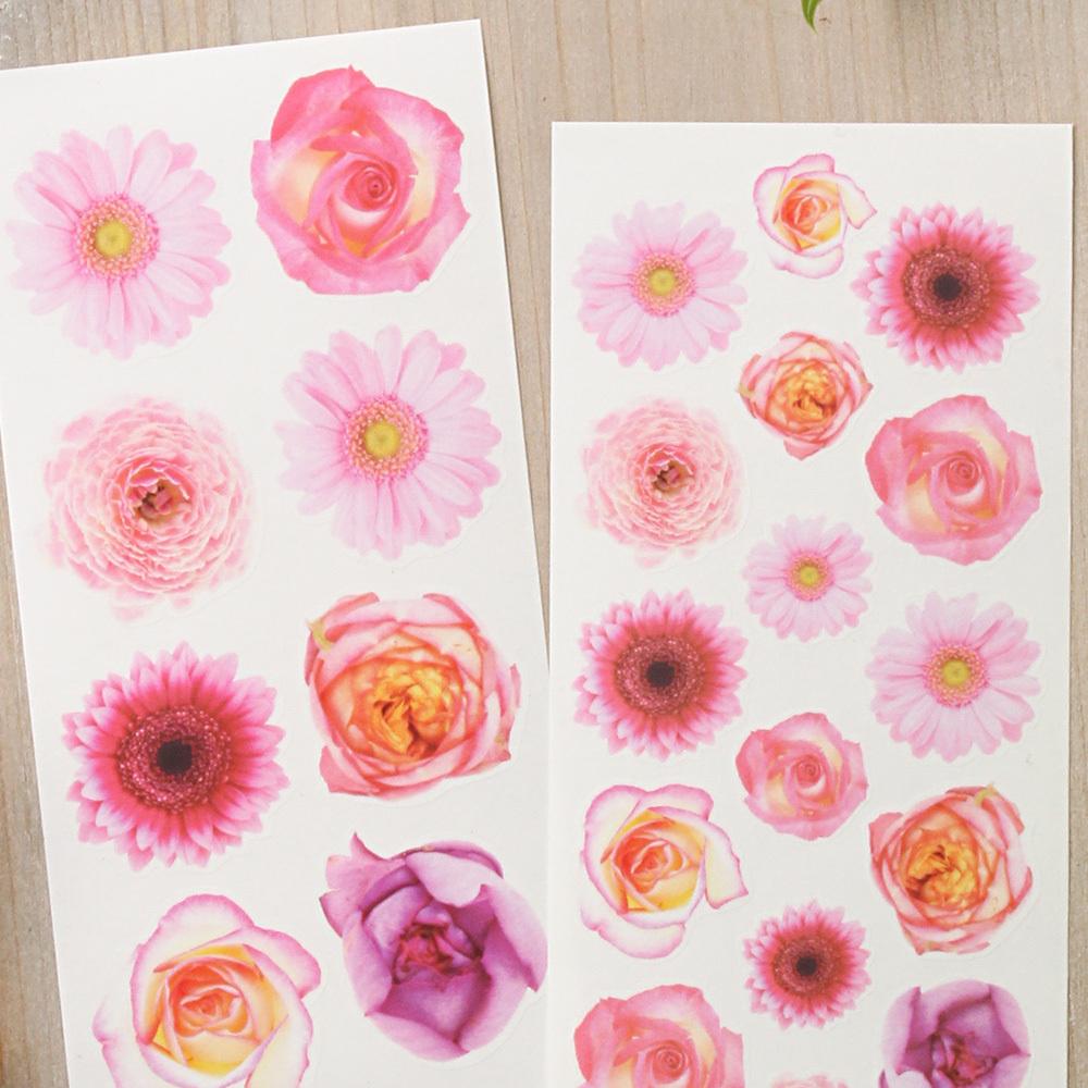 G041 透ける花シール バラ ガーベラ (ピンク系) フラワー 2枚組