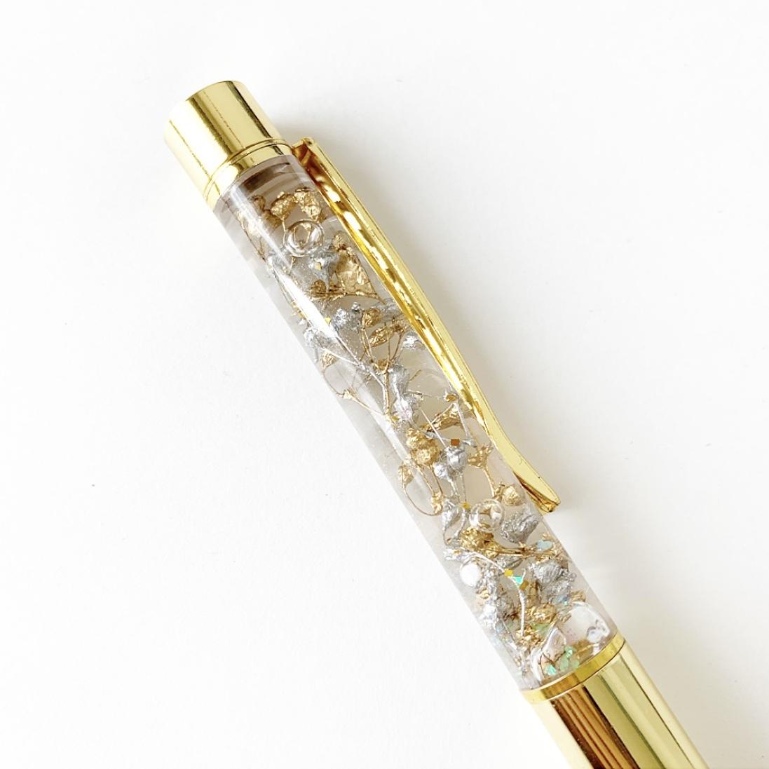 クリアケースラッピング付きハーバリウムペン(ゴールド×シルバー)