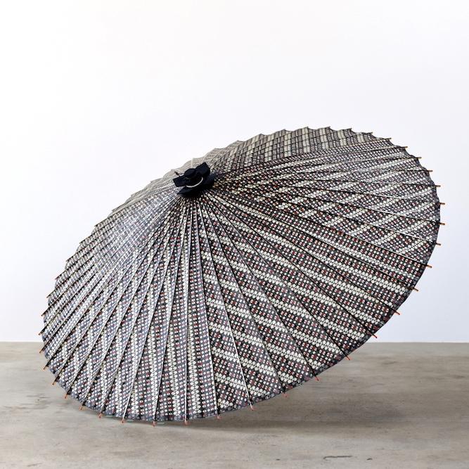 傘日和 蛇の目傘 格子模様×黒