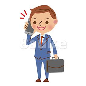 イラスト素材:スマートフォンで通話する若いビジネスマン(ベクター・JPG)