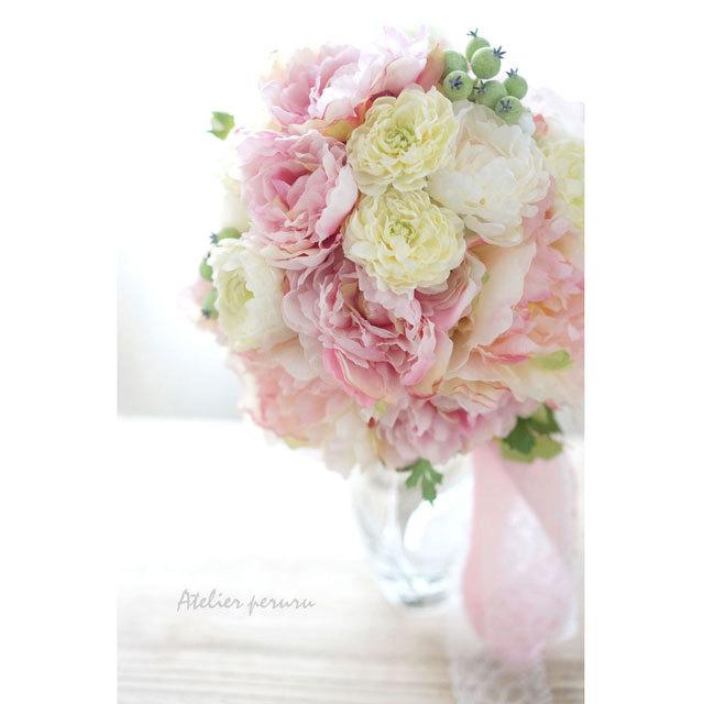 【3点セット】ピンクしゃくやく  クラッチブーケ+ブトニア+花冠