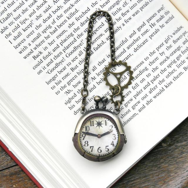 【即納】時計がま口ミニ 大きな歯車のバッグチャーム  アンティーク風時計 - 金星灯百貨店