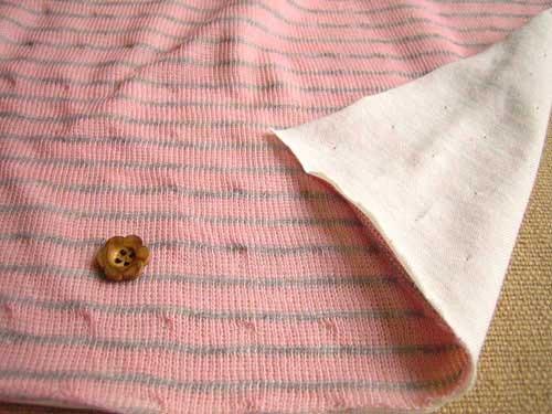 綿混接結ニット、ボーダー柄 柔らかピンク+杢グレー NTB-0138