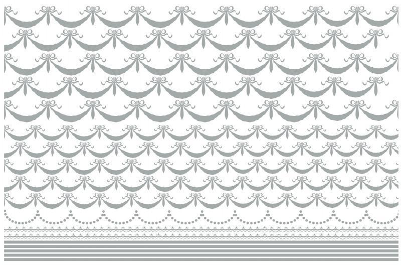 リボンガーランド&ライン A3サイズ シルバー(ポーセリンアート用転写紙)